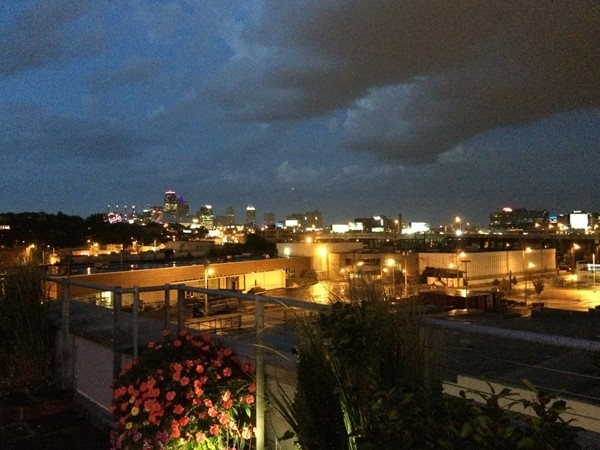 The Boulevard Brewery event space in the evening provides a gorgeous view of the city