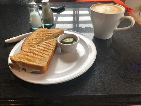 Turkey Sandwich with Mango Salsa and a house latte from Bean Counter Cafe. Yumm! five stars