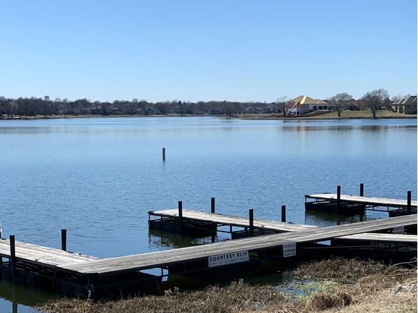 Community boat docks at Raintree Lake in Lee's Summit
