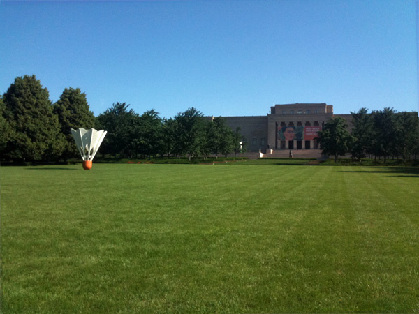 The grand front lawn at the Nelson-Atkins Museum of Art