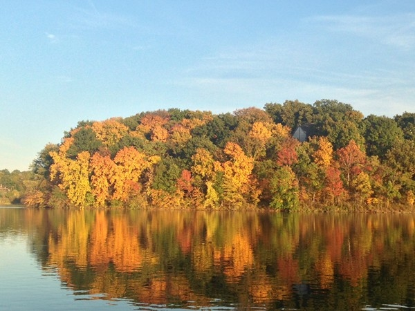 Gorgeous fall tree colors at Riss Lake
