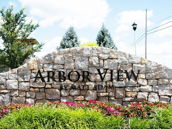 Entry monument for Arbor View - a Matt Adam Community in Johnson County KS