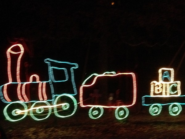 A bright train was a feature of the Longview Lake Park holiday light display