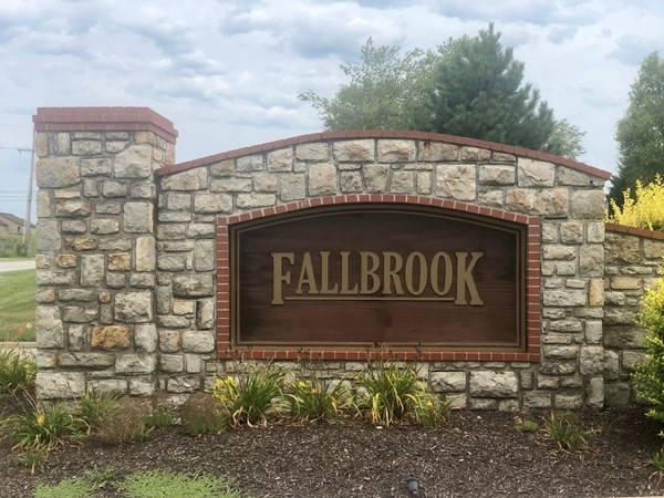Fallbrook subdivision entrance at College Blvd and Woodland St