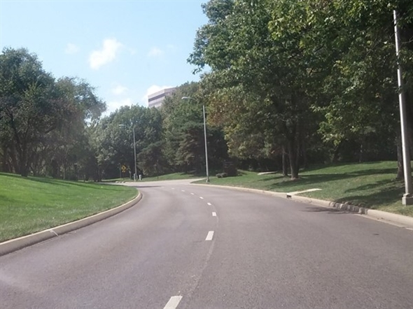 Tree lined streets in Corporate Woods office park