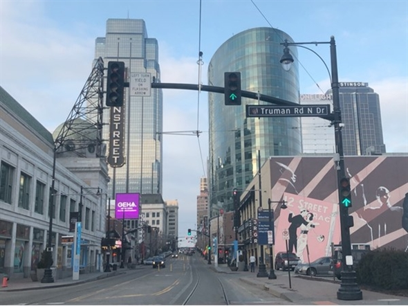 Cool shot of downtown Kansas City, near the Power & Light District