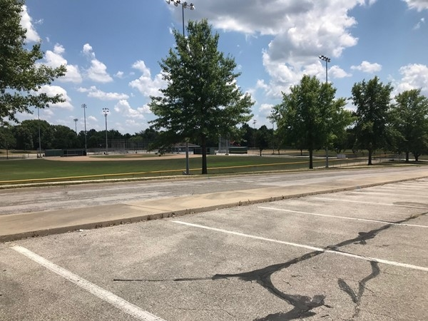Webb Park has baseball fields, tennis courts, and playground areas for the kids