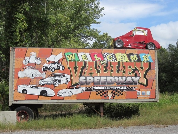 Entrance sign for Valley Speedway in Grain Valley