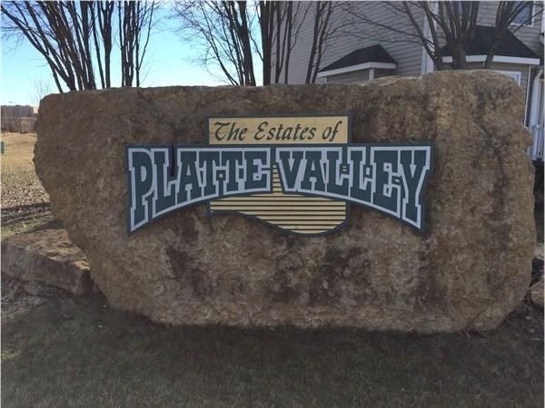 Entrance sign for the Estates of Platte Valley