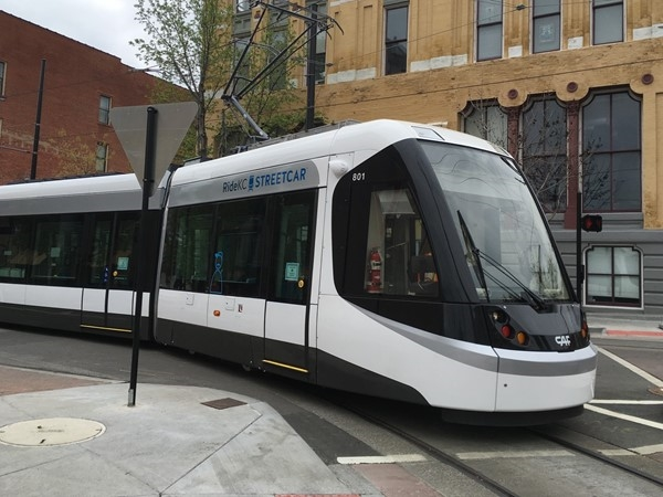 One of the new street cars traveling through the City Market