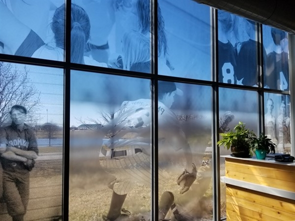 Window art inside the Raymore Activity Center