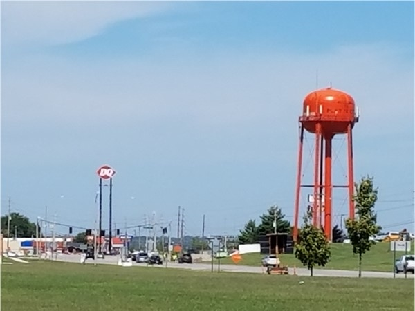 The famous orange Platte City Water Tower