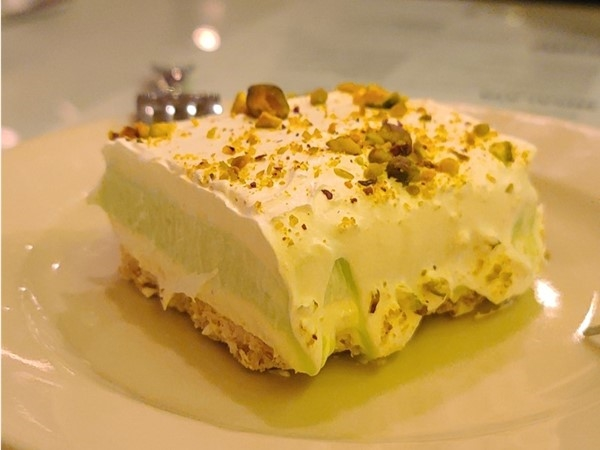 The best Pistachio Torte in Kansas City by far from Carmens Cafe