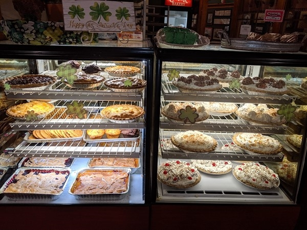 Check out the pie case at Corner Cafe Riverside