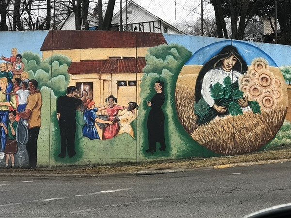 A section of painted mural at 30th and Metropolitan Ave