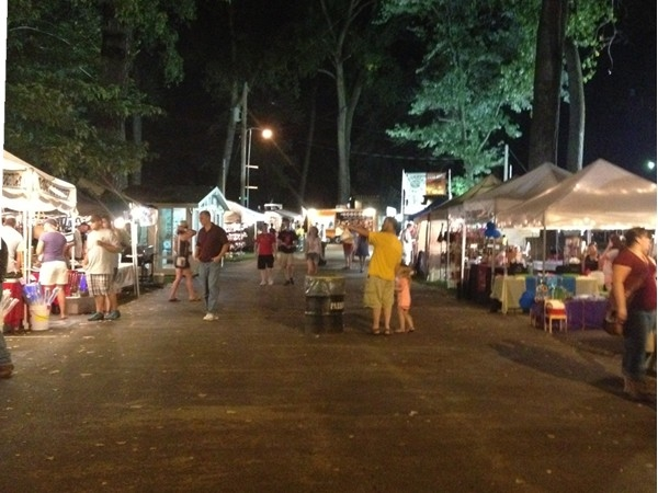 English Landing Park filled with booths during Parkville Days, August 2013.