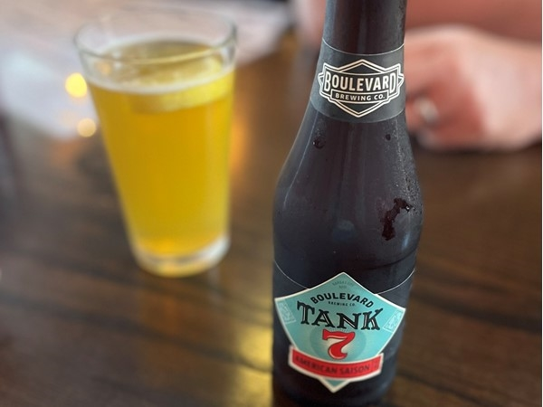 Supporting local with a nice Boulevard Brewing Company beer at the Tin Kitchen