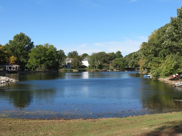 The private lake at Oak Tree Meadows