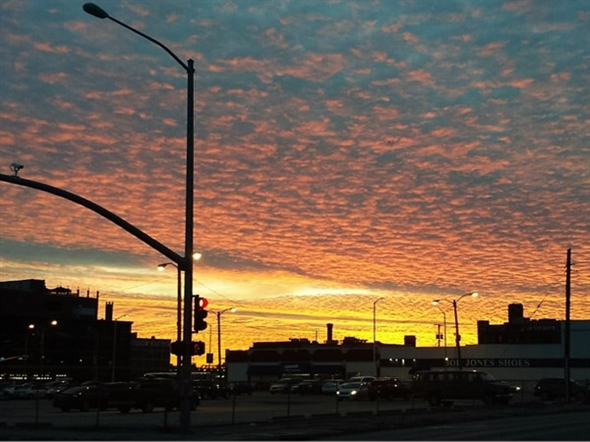 Beautiful sunset in downtown seen from 19th and McGee Streets