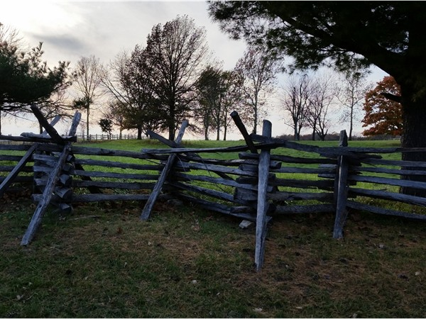 1800's replica of fence lining the main road through Missouri Town 1855, Blue Springs
