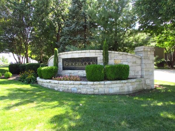 Nicely landscaped entrance marker
