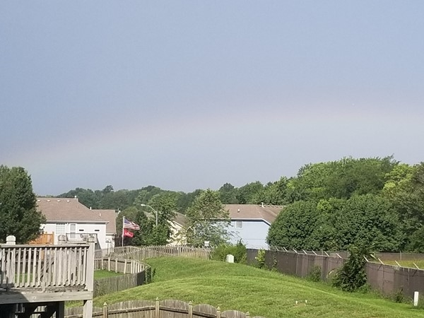 A rainbow in the horizon at Ward Park Place subdivision, in Raymore
