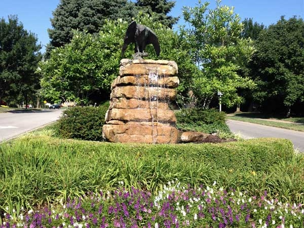 "One of the entrances to Falcon Ridge, showing off the neighborhood ""mascot."""