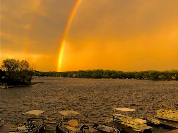 Double rainbow over Weatherby Lake. Photo taken by agent's friend, from his yard