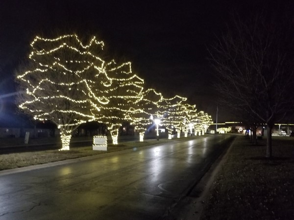 Christmas lights at Foxwood Springs, located in Raymore