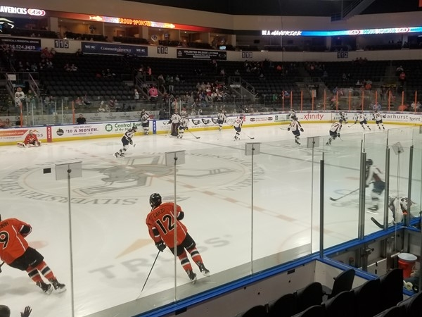 Pre-game warm ups for the Mavericks vs Oilers, at the Independence Events Center