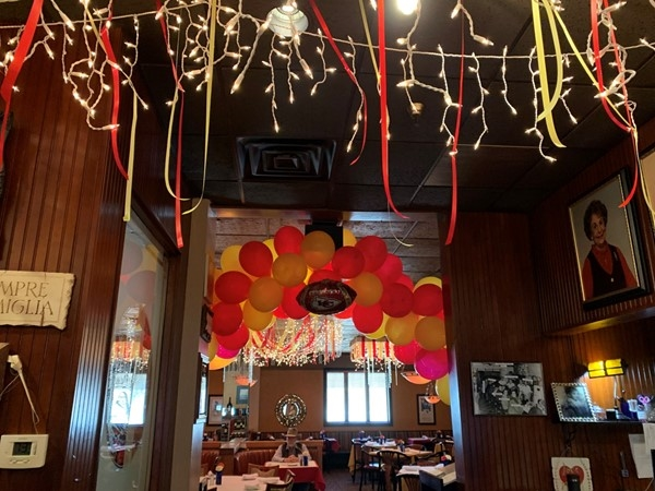 Cascone's Italian Restaurant is decked out for the World Champion Chiefs