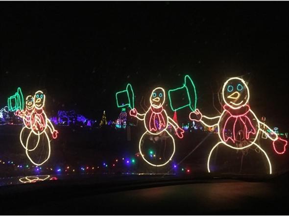 Light Display At Christmas In The Park At Longview Lake Kansas