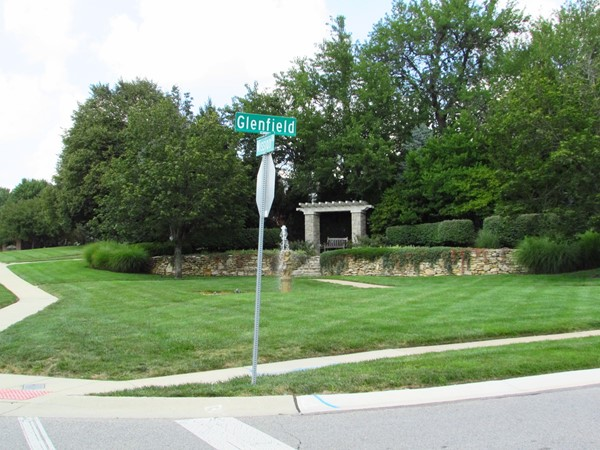 The main entrance to the subdivision on Mission Road