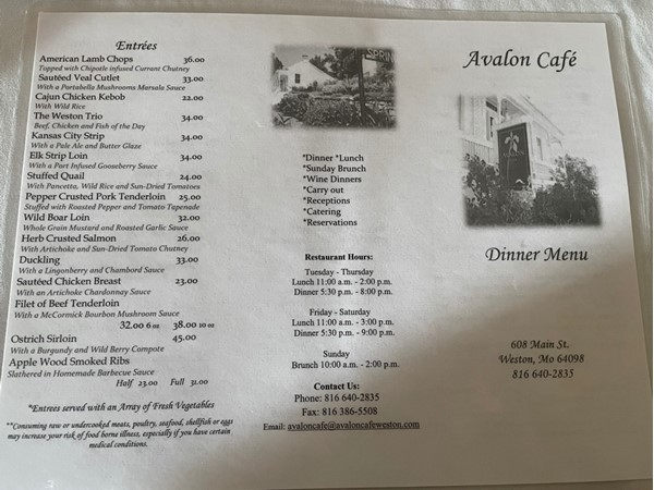 Avalon Café in Weston offers fine dining and never disappoints! Everything I have had is delicious