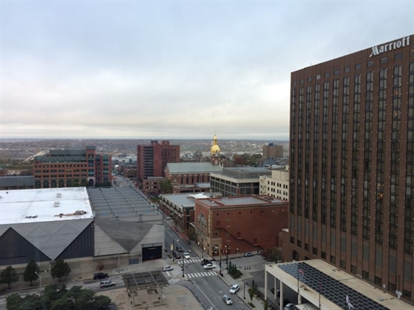 Birds eye view of Convention Center and Marriott Downtown