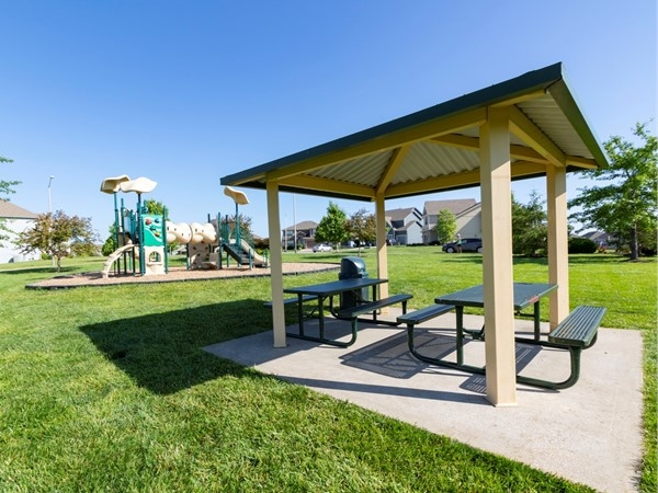 Benson Place playground and covered picnic tables