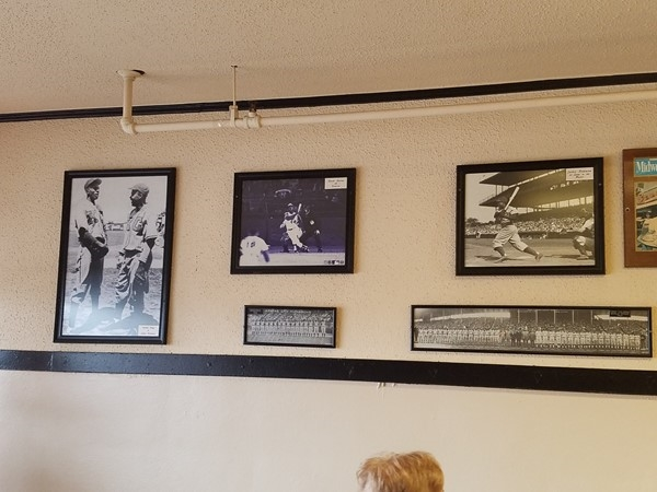 Photos on the wall inside the world famous Arthur Bryant's BBQ, located in Kansas City, MO