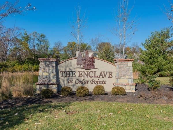 Entry monument for The Enclave at Cedar Pointe in Leawood - Fall 2019