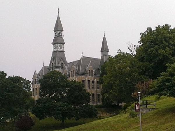 The campus of Park University is full of beautiful stone buildings