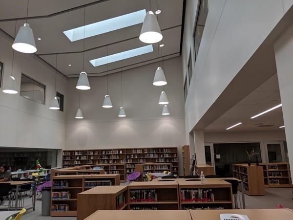 The library at North Kansas City High School