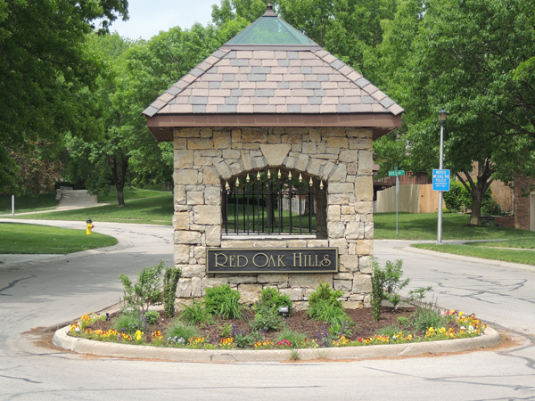 Entrance to Red Oak Hills Subdivision in Shawnee, KS.