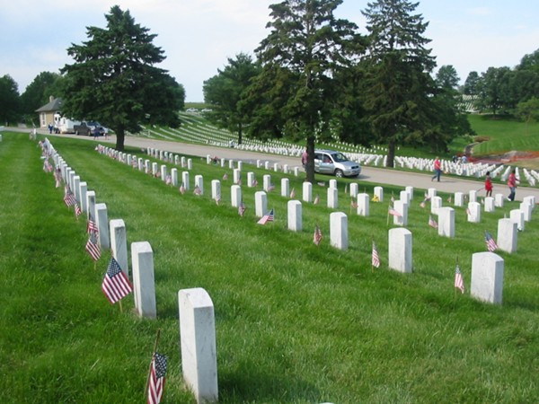 Flags decorate each gravesite on Memorial Day at Leavenworth National Cemetery