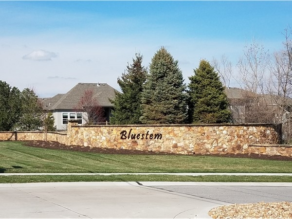 Bluestem subdivision entrance at 151st St and Quivira Rd