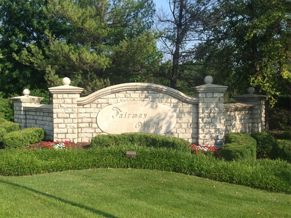 Main entrance to Fairway Woods subdivision.