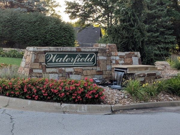 Waterfield has some nicely manicured entrances to come home to