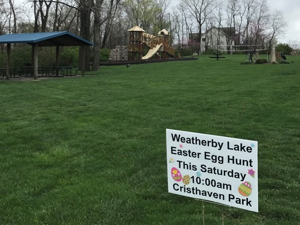 Weatherby Lake residents! Easter egg hunt for the kiddos is this Saturday at 10:00
