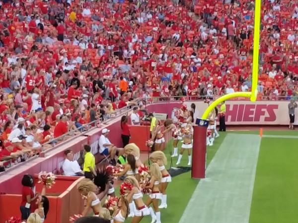 Fans enjoying Chiefs football at Arrowhead Stadium