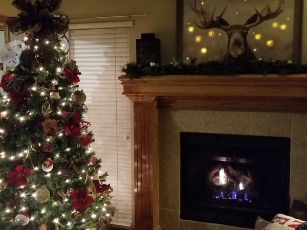 Enjoying the fire and the moose! Ward Park Place subdivision in Raymore