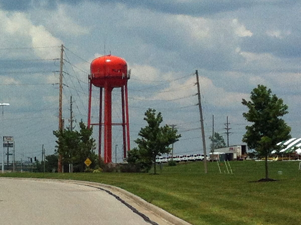 Platte City is known for it's Orange water tower just off the interstate.