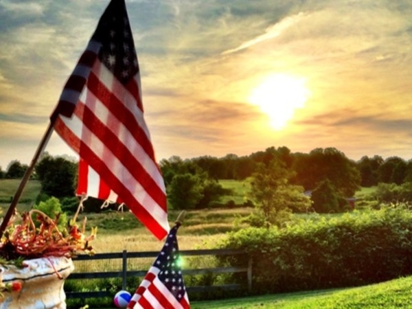 Sunsets in rural Liberty are not only stunning but patriotic on a warm Independence Day